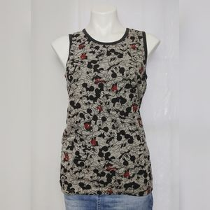 Disney Mickey Mouse Collage Gray Black Tank Top S